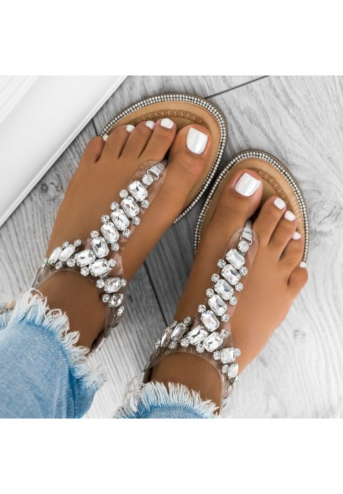 Sandałki Japonki z Kryształkami Srebrne Sally