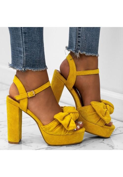 Sandałki Platformy na Słupku Zamszowe Żółte Elissa