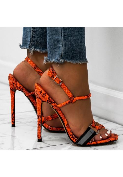 Sandałki Szpilki Wężowe Pomarańczowe Roxi