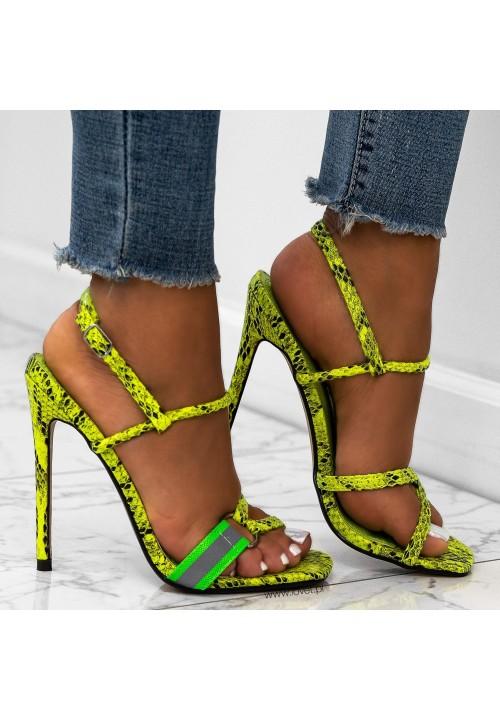 Sandałki Szpilki Wężowe Ziolone Neonowe Roxi