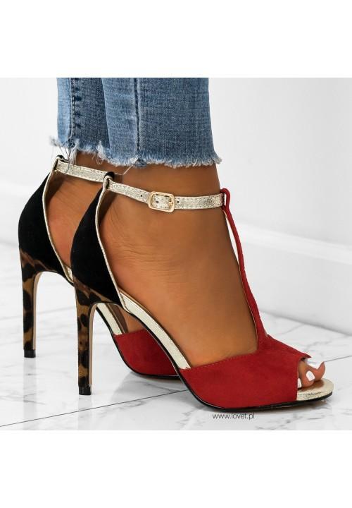 Sandałki Szpilki Zamszowe Red Glen