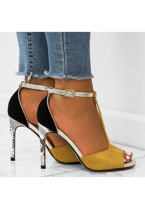 Sandałki Szpilki Zamszowe Yellow Glen