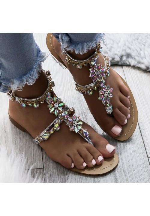 Sandałki Japonki z Kryształkami Złote Tilda