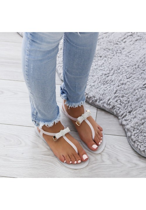 Sandały Japonki z Kokardką Białe Elisse
