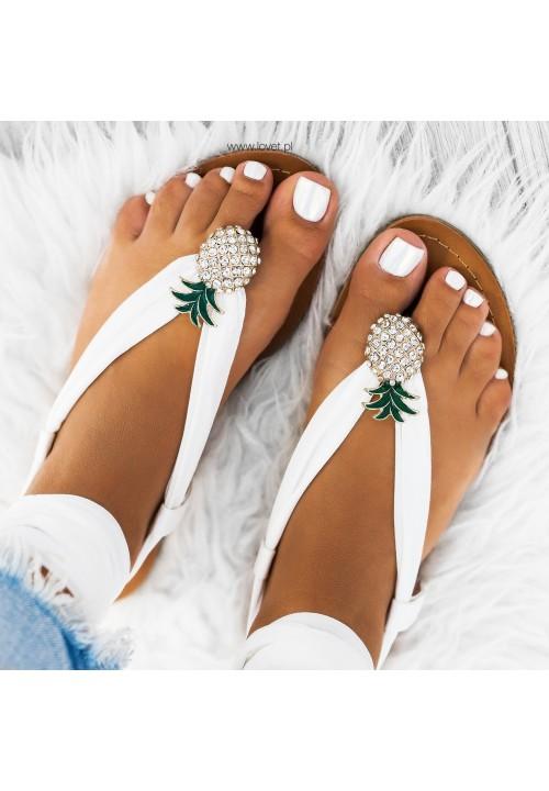 Sandały Japonki Wiązne z Ananasem Białe Diane