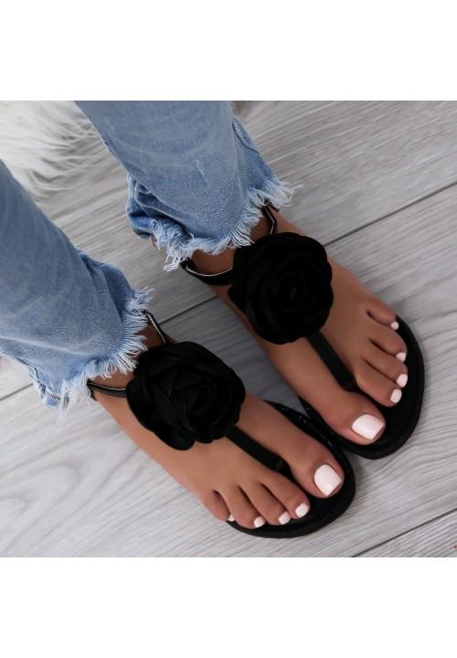 Sandałki Japonki Czarne Sweet Rose
