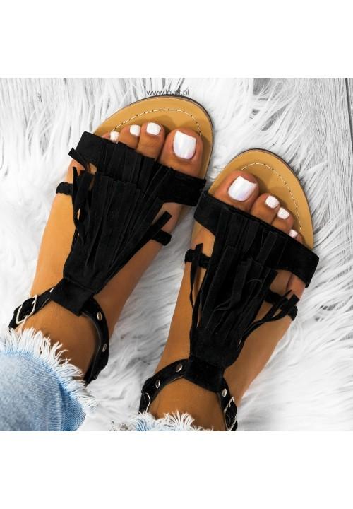 Sandałki Płaskie Zamsowe Czarne Neilli
