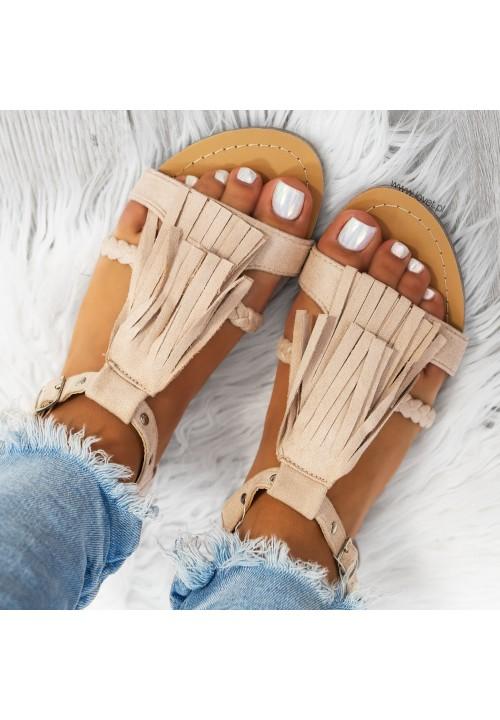 Sandałki Płaskie Zamsowe Beżowe Neilli