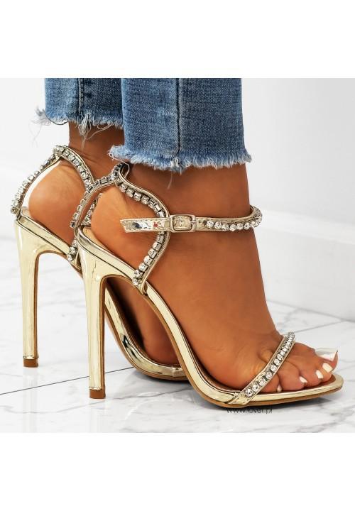 Sandałki Szpilki Lustrzane Złote Kelly