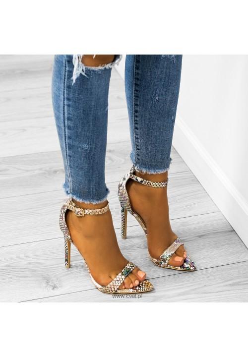 Sandały Szpilki Opalizujące Wężowe Beżowe Amelia Snake