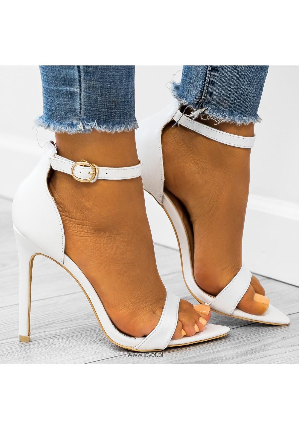 Sandały Szpilki Białe Amelia