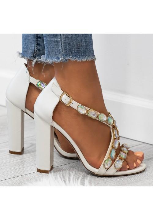 Sandały na Słupku Białe Evi