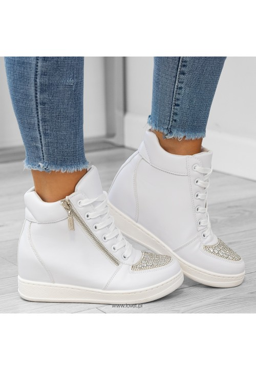 Trampki Sneakers Białe Bling