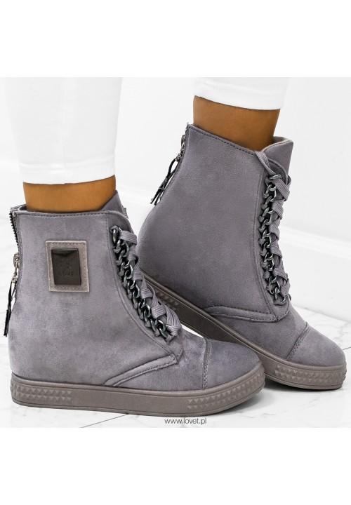Trampki Zamszowe Szare Sneakers New Glam