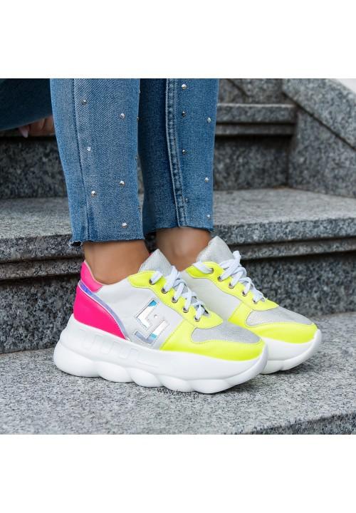 Trampki Sportowe Sneakersy Białe Neon Tottie