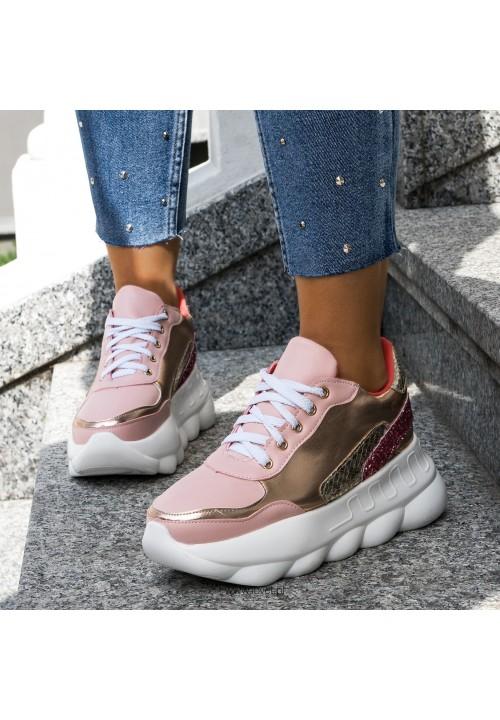 Trampki Sportowe Sneakersy Różowe Glitter Tottie