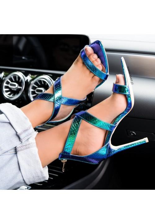 Sandały Szpilki Opalizujące Zielono Niebieskie Sonja