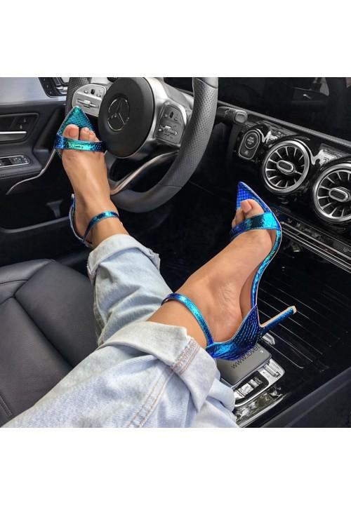 Sandały Szpilki Opalizujące Zielono Niebieskie Amelia