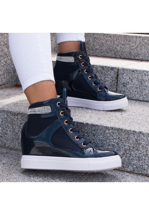 Trampki Koturny Sneakersy Granatowe Vernice