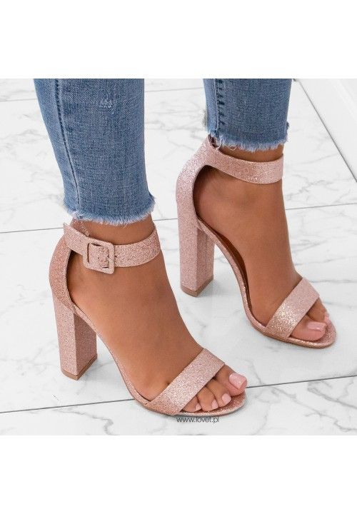 Sandały na Słupku Brokatowe Różowe Złoto Arielli Glam