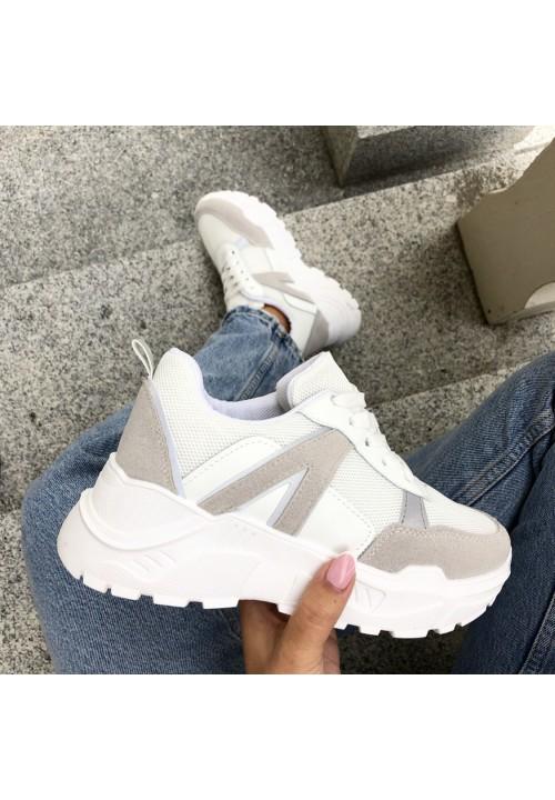 Trampki Sneakersy Sportowe Biało Szare Noreen