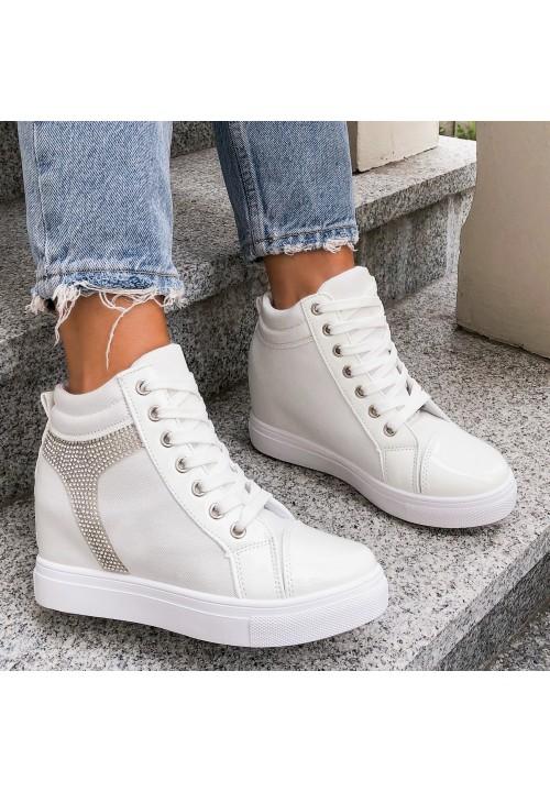 Trampki Koturny Sneakersy Białe Alice