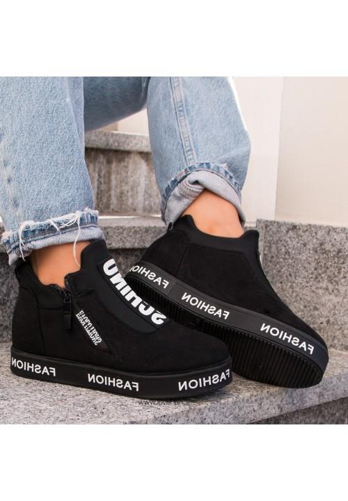 Trampki Sneakers na Koturnie Zamszowe Czarne Lydia