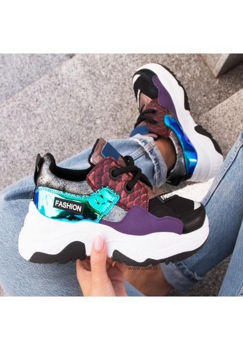 Trampki Sportowe Sneakers Holograficzne Czarne Kally New