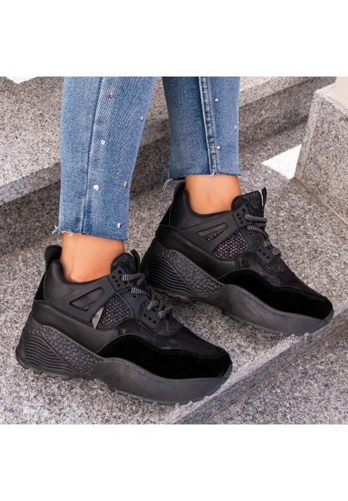 Trampki Sneakersy Sportowe Czarne Bailey