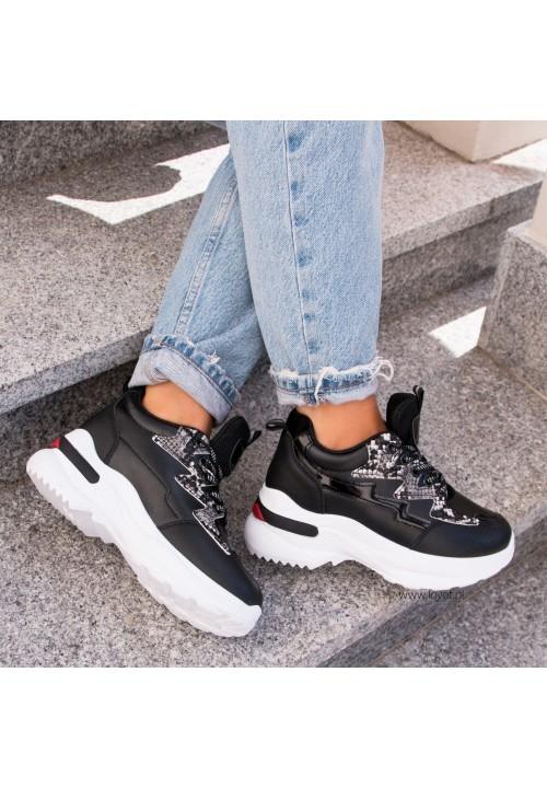 Trampki Sneakersy Sportowe Czarne Sheena