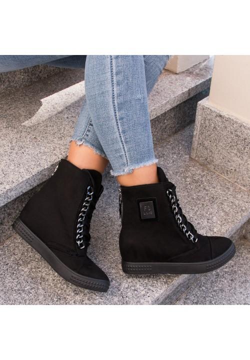 Trampki Zamszowe Sneakersy Czarne New Glam