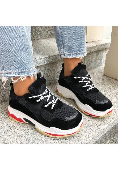 Trampki Sneakersy Sportowe Czarne Libby