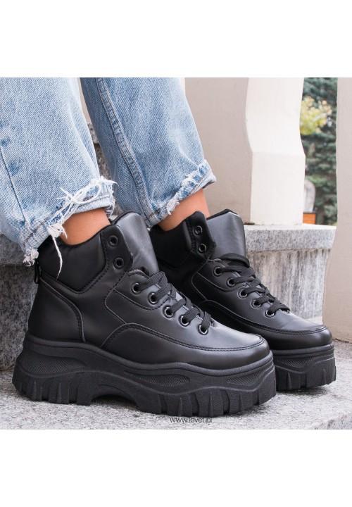 Trampki Sneakersy Wysokie Czarne Raven