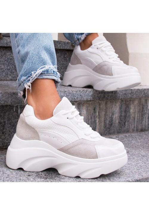 Trampki Sneakersy Sportowe Białe Pierre