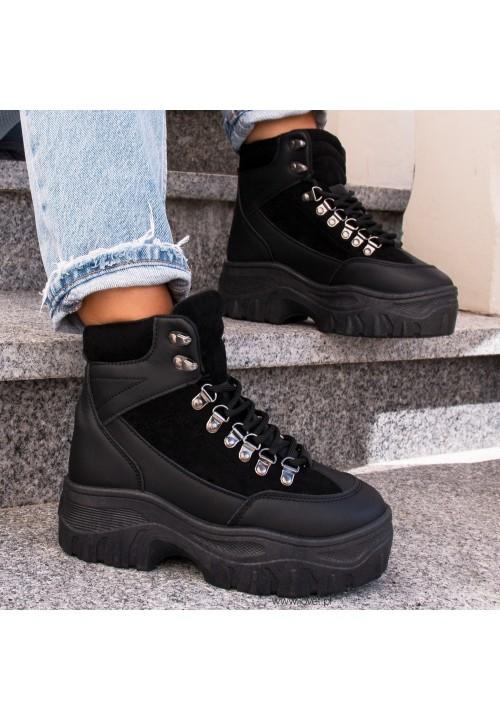 Trampki Sneakersy Wysokie Czarne Roddy