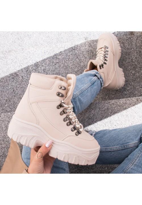 Trampki Sneakersy Wysokie Beżowe Roddy