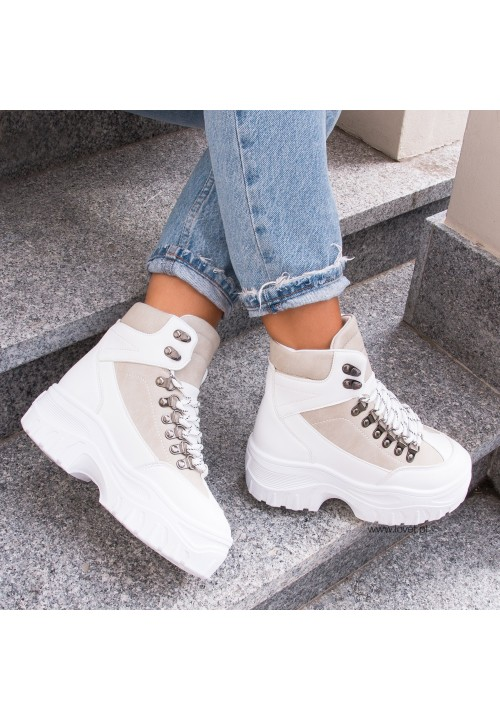 Trampki Sneakersy Wysokie Białe Roddy