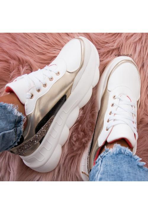 Trampki Sportowe Sneakersy Biało Złote Gold Tottie