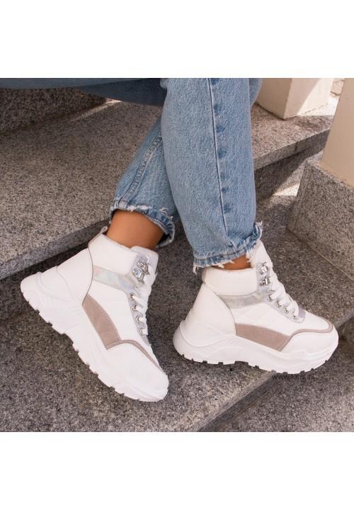 Trampki Sneakersy Wysokie Białe Terry