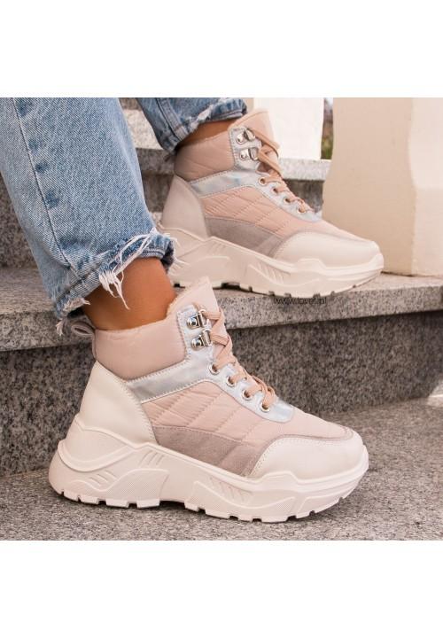 Trampki Sneakersy Wysokie Beżowe Terry