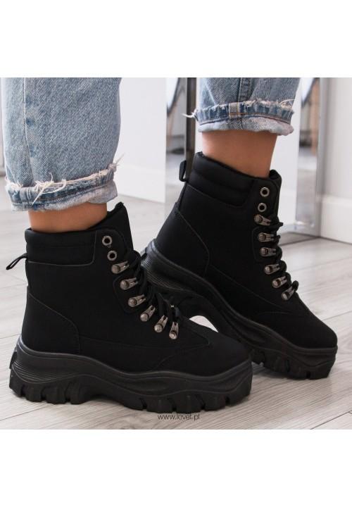 Trampki Sneakersy Wysokie Czarne Robyn