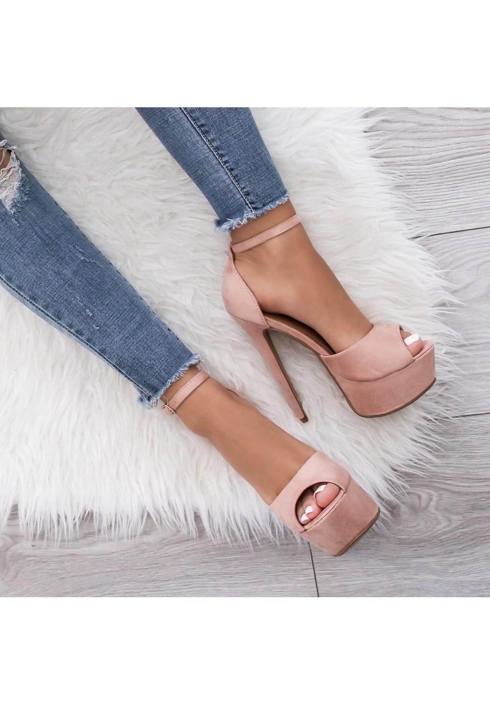 Sandałki Szpilki na Platformie Pudrowy Róż Alexia