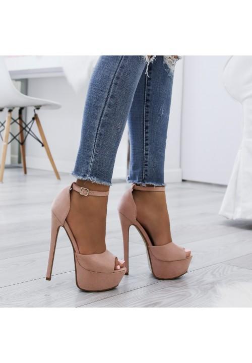 Sandałki Szpilki na Platformie Zamszowe Różowe Alexa