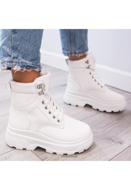 Trampki Sneakersy Wysokie Białe Klass