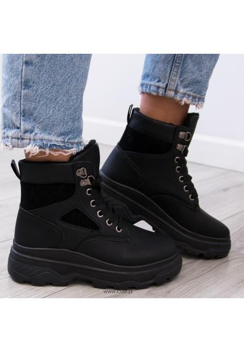 Trampki Sneakersy Wysokie Czarne Klass