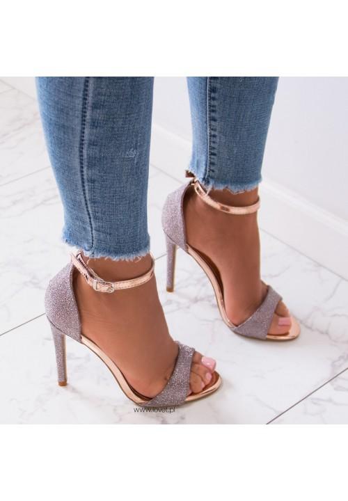 Sandały Szpilki Klasyczne Różowe Złoto Classic Shine