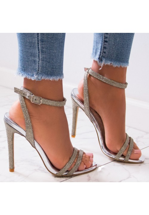 Sandały Szpilki Brokatowe Złote Milly