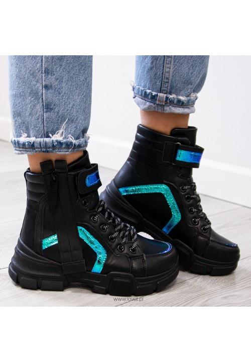 Trampki Sneakersy Wysokie Czarne Davie New