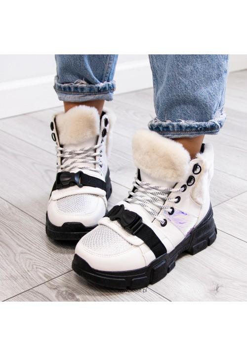 Trampki Sneakersy Wysokie Białe Elive