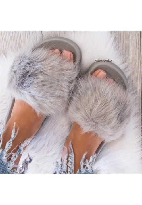 Klapki Gumowe Grey Fluffy Long